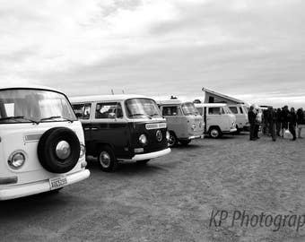 Black and White VW Bus Blank Photo Card