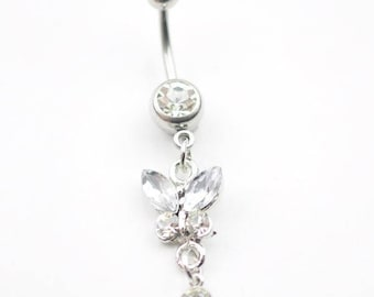 Belly Button Ring Clear Butterfly