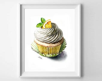 cupcake print, dessert art, art print of my original watercolor painting