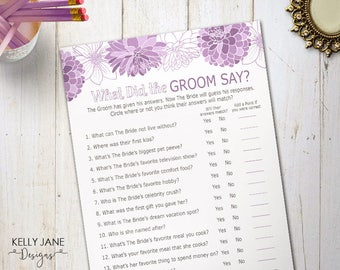 "Purple Bridal Shower ""What Did the Groom Say?"" Game - Bridal Shower Activity - Purple Floral - Flower Printable Activity  PD02"