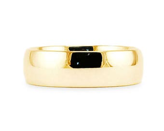 7mm Solid 14k Yellow Gold Plain Classic Shiny Comfort Fit Wedding Band // Simple Men's Women's Ring // All Sizes // High Polish Finish