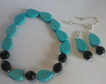 Turquoise leaves and black bead necklace and earring set