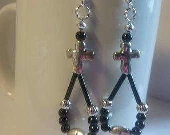 Cross earrings, beaded, teardrop, hoops, silver, black,inspirational, Christian, crosses, dangle