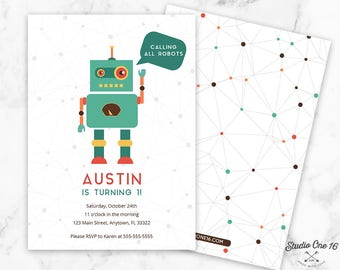 Robot Birthday Invitation, Robot Invitation, Robot Party Invite, Robot Party, Robots, Boys Invite