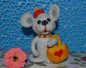 Charming girl mouse wool toy with bag Animal Handmade toys Perfect gift Home decor felt Mouse