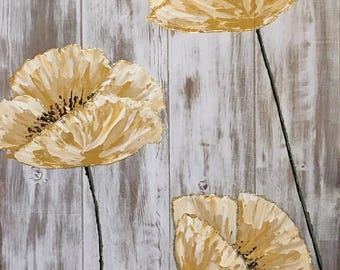 Hand painted yellow poppies on distressed wood
