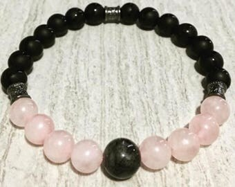 8mm Pink and Black Stretch Bracelet