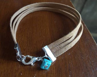 Leather suede bracelet, light brown, charm, turquoise, three strand bracelet