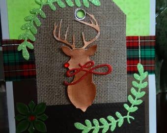 Bronze Reindeer mounted on burlap tag