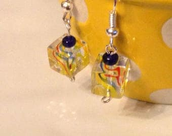Glass Cube Earrings (red, yellow, blue)