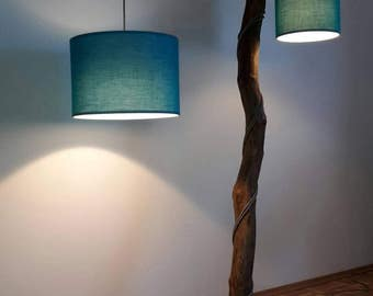 Wild wood floor lamp, AST lamp with two fabric lampshades in turquoise, textile cable grey