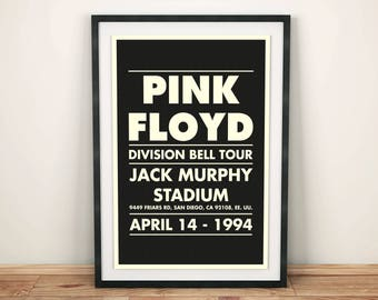 Pink Floyd Poster - The Division Bell Tour Gig Poster - Pink Floyd Print - Music Poster - Rock and Roll - Print Gift - By Butaca Studio