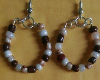 Beaded Brown Earrings