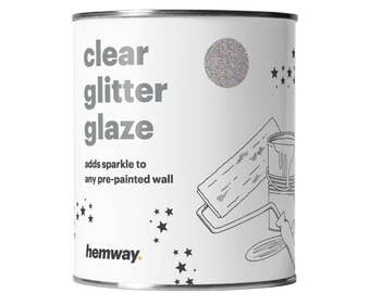 Hemway 1L Clear Glitter Paint Glaze for Pre-Painted Walls  - Silver Holographic