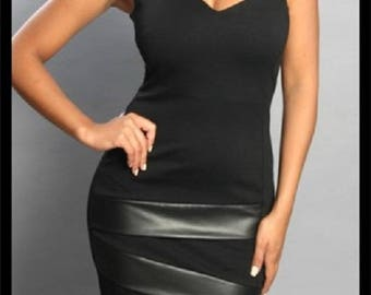 One Shoulder Mini Dress with faux leather band