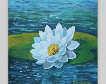 Original painting Floral Small painting Acryli Flowers Impressionist Water lily Girl room decor Small gift painting Discount painting