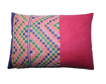 """Embroidered Bohemian Lumbar Pillow or Cushion Cover / Rectangular 16x24"""" (40x60cm) UpCycled from a Vintage Tribal Indian Skirt"""