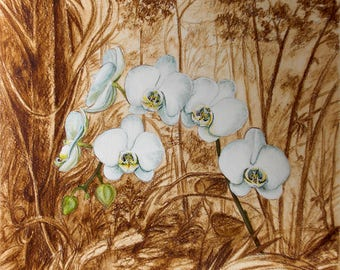 """Original Painting """"Orchid in the rainforest"""", 9.4""""x12.5"""" (24cm x 32cm), Phalaenopsis, Tropical flowers, Landscape, for orchid lovers"""