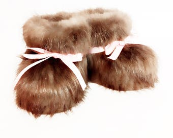 BEAVER FUR BOOTIES infant and children