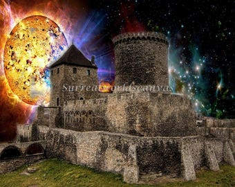 "12"" x 12"" original surreal art canvas Supernova Castle- photo mixed media collage"