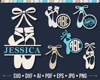 Ballet Shoes SVG Pointe Shoe SVG Cut File Dance Svg Ballerina Monogram Svg Shoe Frame Silhouette Ballet Dance Cutting files Svg Dxf Png Eps