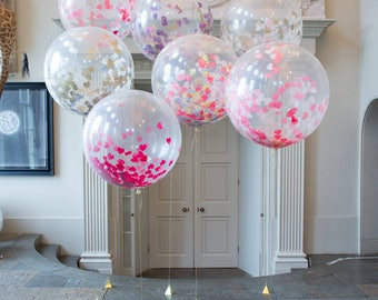 """Giant 3 foot, 36"""" Confetti Balloon large Prom Wedding Birthday Party all colours"""