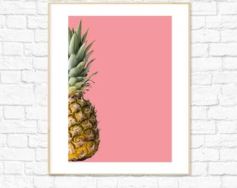 Pineapple Print, Food Art, Fruit Print, Photography, Kitchen Dining Room Decor, Colorful Minimalist Printable Wall Art, Instant Download