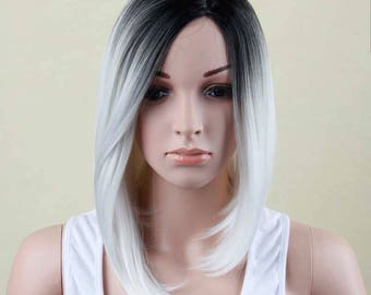 """16"""" Ombre Black And White Bob Cut Short Synthetic Wig Heat Resistant// Synthetic Hair Wigs// Mixed Color"""