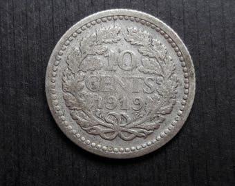 1919 silver 10 cent coin Wilhelmina Koningin Der Nederlanden