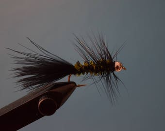 Woolly Bugger, three total hand tied flies