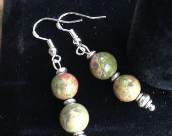 Genuine Unakite earrings