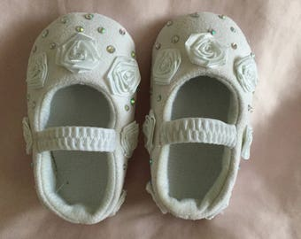 Baby Girls White Ab Crystal Rosebud Christening/Occasion Crib Shoes 0-3 months