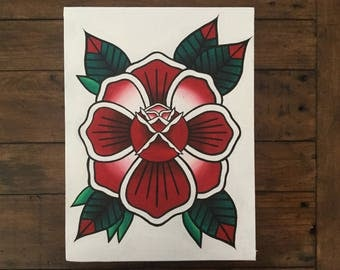 ORIGINAL Rose Traditional Tattoo Painting