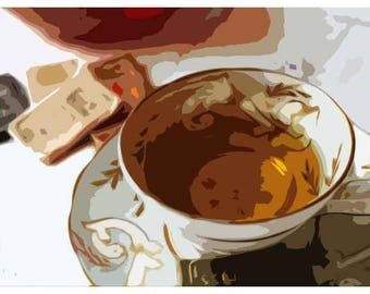 Vintage print. Digital artwork. Cafe style print. Cup and Saucer.