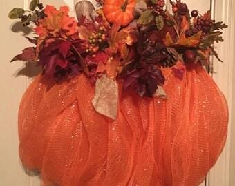 Mesh Orange Pumpkin Wreath