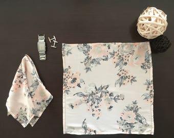 Peach & Gray Floral Pocket Square