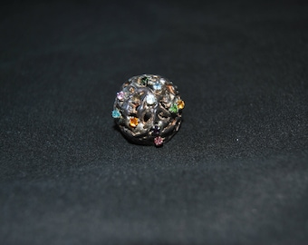 Vintage Silver Dome Ring with multicolored Gems
