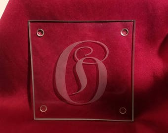 Monogrammed Glass Coasters - Set of 4
