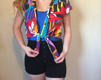 Vintage 1990s Crop Top Abstract Hawaiian Shirt