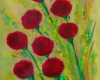Original abstract painting, abstract art, handmade painting, red roses, flowers, roses, painting