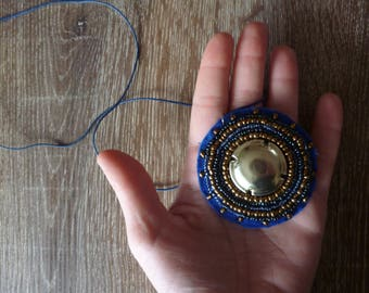 Blue and gold ethnic bauble