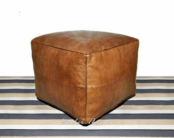 Moroccan Genuine Leather Pouffes Cover Square Handmade, Ottoman, Tan #PS016