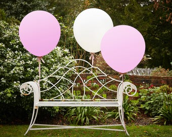 Jumbo White & Pink Balloons, Wedding Balloons, 36 Inches, 3 Pack, Party Balloons, Feature Balloons