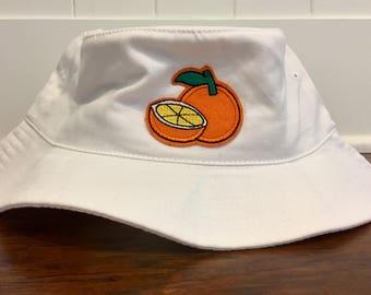 White Bucket Hat with Orange Slice Patch