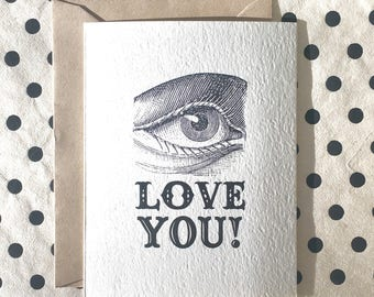 I Love You Typography Card, Humor Card, Just Because Card,  Funny Card, Love Greeting Card