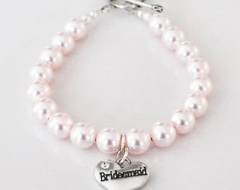 Bridesmaid Bracelet,  Pearl Bracelet Bridesmaid with Toggle Clasp and Bridesmaid Heart Charm, 8mm Round Rosaline Crystal Pearls