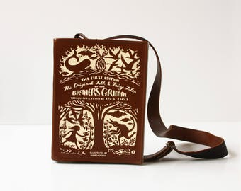 SALE Grimm's Fairytale Classics Leather Book Bag Brothers Grimm Book Purse