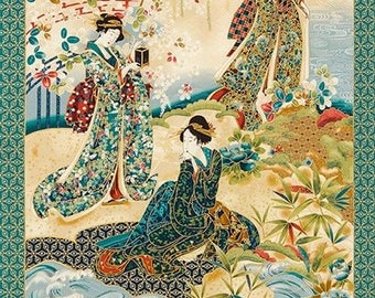 Panel Imperial Collection Geisha green by Robert Kaufman Cotton Quilting Fabric