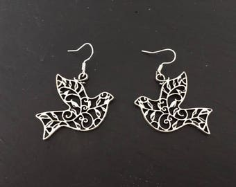 Filigree dove earrings