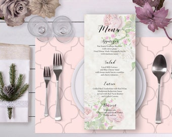 Floral Wedding Menu Blush Rose Gold Watercolor Roses Digital Printable Wedding Boho Long Menu Card Bohemian Food Bridal Wedding - WS010